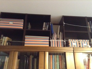 Top shelves secured with string