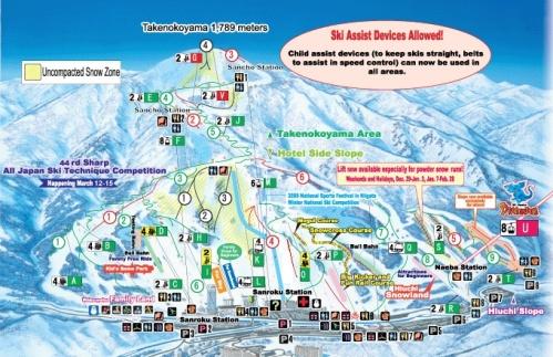 Ski piste map of Naeba