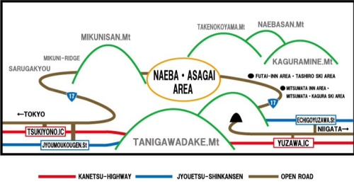 Mt Naeba in relation to other mountains