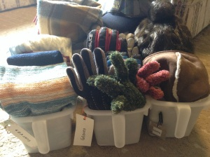 Sorting through the scarves and gloves...