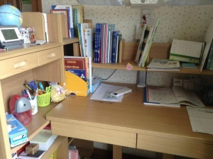 Time to study! This is what a 13 yo girl's study space looks like!
