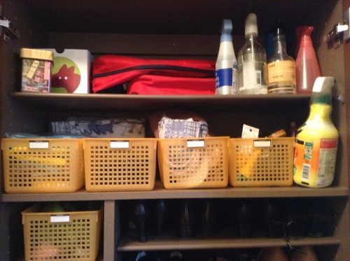 Hard to keep odds and ends tidy, like picnic mats, airline slippers, shoe-brushes, airsprays. Baskets do the trick.