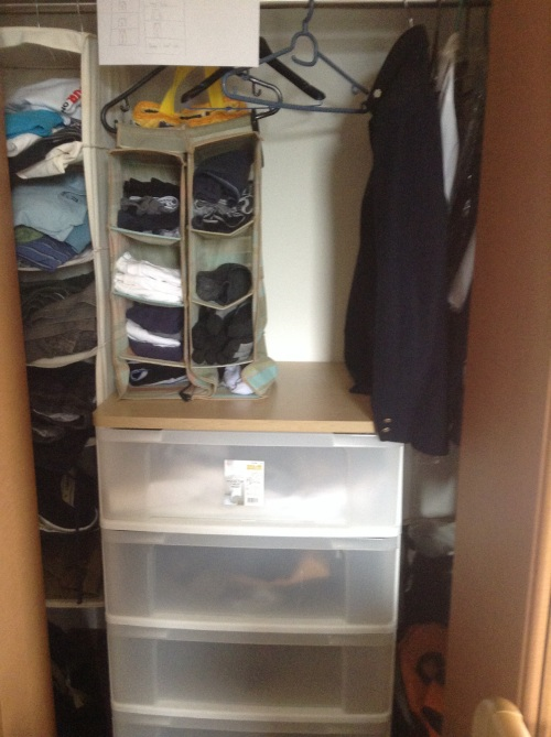 DS' wardrobe has lots of cubbyholes, wit all items sorted from small items to large, short to long pants. No need for seasonal changing around for clothes at all