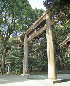 Tori gateway to grounds of the Meiji Jingu Shrine